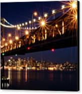 Bay Bridge In Front Of San Francisco Skyline Canvas Print by Blue Hour Photography