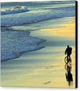 Beach Biker Canvas Print by Carlos Caetano
