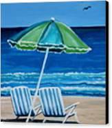 Beach Chair Bliss Canvas Print by Elizabeth Robinette Tyndall
