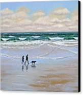 Beach Dog Walk Canvas Print