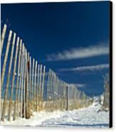 Beach Fence And Snow Canvas Print