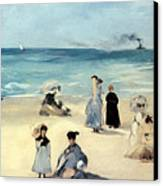 Beach Scene Canvas Print by Edouard Manet