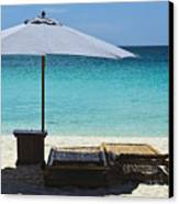 Beach Scene With Lounger And Umbrella Canvas Print by Paul W Sharpe Aka Wizard of Wonders