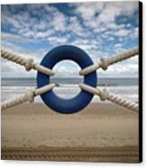 Beach Through Lifeguard Tied With Ropes Canvas Print by Carlos Ramos