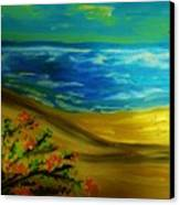 Beach With Flowers Canvas Print
