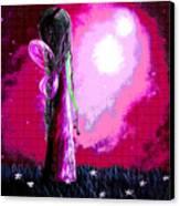 Beautiful Pink Angel Fairy By Shawna Erback Canvas Print by Shawna Erback