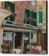 Beautiful Restaurant In Venice Canvas Print by Charlotte Blanchard
