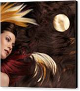 Beautiful Woman With Colorful Hair Extensions Canvas Print
