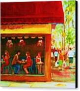 Beautys Cafe With Red Awning Canvas Print