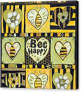 Bee Happy Canvas Print by Jen Norton