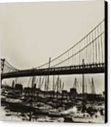 Ben Franklin Bridge From The Marina In Black And White. Canvas Print by Bill Cannon