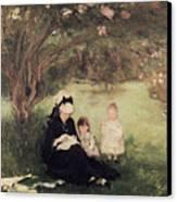Beneath The Lilac At Maurecourt Canvas Print by Berthe Morisot