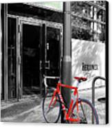 Berlin Street View With Red Bike Canvas Print