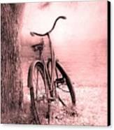 Bicycle In Pink Canvas Print by Sophie Vigneault