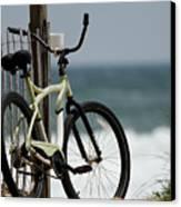 Bicycle On The Beach Canvas Print by Julie Niemela