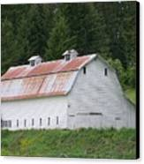 Big White Old Barn With Rusty Roof  Washington State Canvas Print