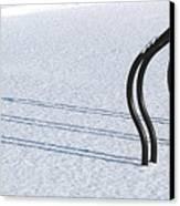 Bike Racks In Snow Canvas Print by Steve Somerville