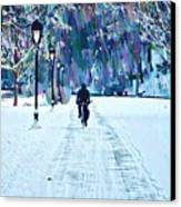 Bike Riding In The Snow Canvas Print