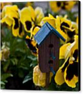 Bird House And Pansey Canvas Print