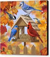 Bird Painting - Autumn Aquaintances Canvas Print by Crista Forest