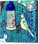 Bird People The Bluetit Family Canvas Print by Sushila Burgess