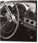 Black And White Thunderbird Steering Wheel And Dash Canvas Print
