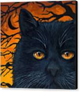 Black Cat And Moon Canvas Print