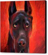Black Great Dane Dog Painting Canvas Print