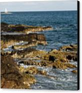 Black Rock Point And Sailboat Canvas Print