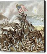 Black Troops Of The Fifty Fourth Massachusetts Regiment During The Assault Of Fort Wagner Canvas Print