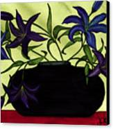 Black Vase With Lilies Canvas Print