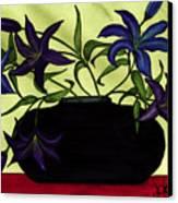 Black Vase With Lilies Canvas Print