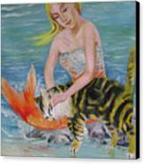Blond Mermaid And Cat Canvas Print