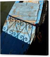 Blue Boat In Venice With Shadow Canvas Print