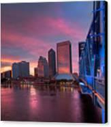 Blue Bridge Red Sky Jacksonville Skyline Canvas Print by Debra and Dave Vanderlaan