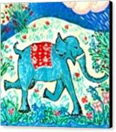 Blue Elephant Facing Right Canvas Print by Sushila Burgess