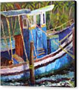 Blue Fishing Boat Canvas Print
