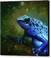 Blue Frog Canvas Print by Caroline Jamhour