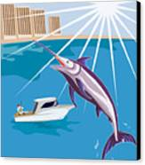 Blue Marlin Jumping Canvas Print by Aloysius Patrimonio