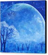 Blue Night Moon Canvas Print by Ashleigh Dyan Bayer