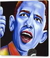 Blue Pop President Barack Obama Canvas Print by Nannette Harris