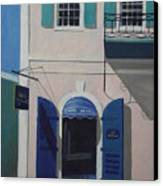 Blue Shutters In Charlotte Amalie Canvas Print