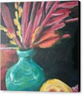 Blue Vase With Red  Canvas Print