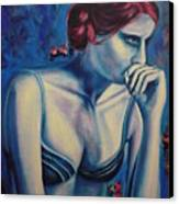 Blue Woman Thinking Canvas Print