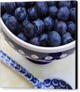 Blueberries In Polish Pottery Bowl Canvas Print