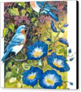 Bluebirds And Morning Glories Canvas Print