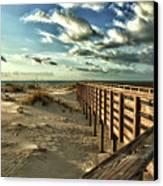 Boardwalk On The Beach Canvas Print by Michael Thomas
