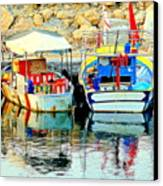 Happy And Colorful Boats In Their Own Company  Canvas Print by Hilde Widerberg