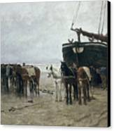 Boat On The Beach At Scheveningen Canvas Print by Anton Mauve