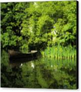 Boat Reflected On Water County Clare Ireland Painting Canvas Print